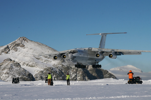 IL76 Landing at Union Glacier, Antarctica