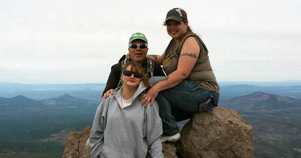 Jim at the summit of Lassen Peak with his two daughters, Shelly and Deanna on July 14, 2014