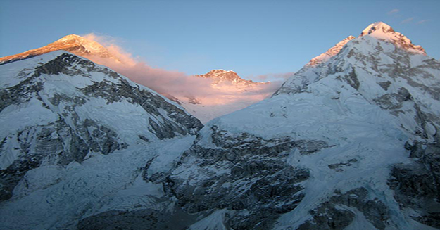 snow covered mountains, the veiw from pumori at sunrise