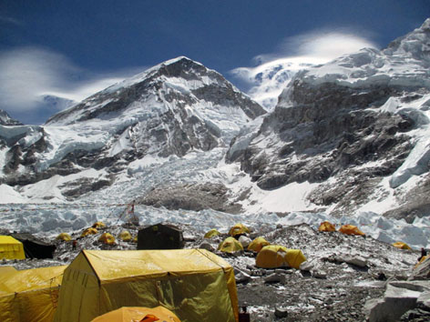 Tents at Everest Base Camp before the ice fall