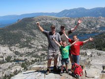 Jim Geiger climbing with his family.